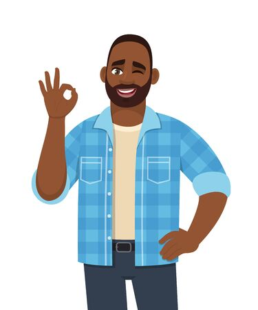 Happy young bearded African man showing okay, cool gesture with winking eye. Trendy successful black person making OK, good symbol. Male character design illustration in vector cartoon style.