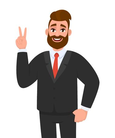 Young hipster businessman showing  victory. Trendy stylish person gesturing peace sign with fingers. Happy male character making success or winner symbol. Cartoon design illustration in vector style.