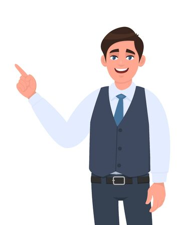Young businessman pointing finger hand gesture to copy space. Person introducing something. Male character design illustration. Modern lifestyle, concept in vector cartoon style.