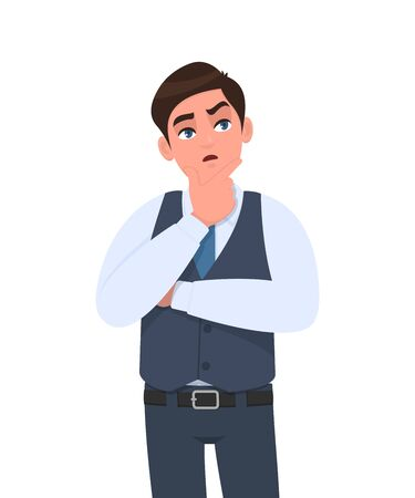 Thoughtful young businessman in waistcoat thinking with crossed arm. Person looking up. Male character design illustration. Human emotions, facial expressions concept in vector cartoon style. Ilustrace
