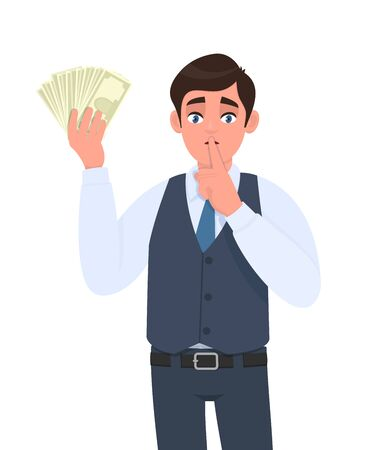 Young businessman in waistcoat showing cash, money and asking silence. Trendy person holding currency notes and keeping finger on lips. Stylish male character design illustration in vector cartoon.