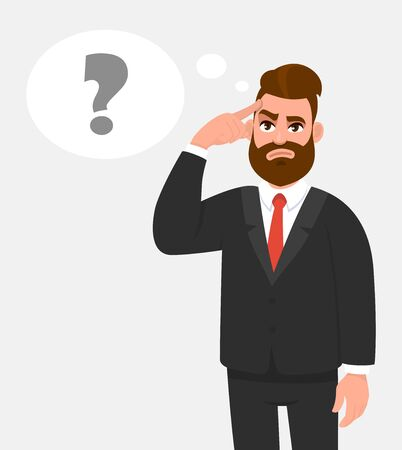 Thoughtful young businessman holding or touching finger on forehead. Question mark in the thought bubble. Trendy person thinking and looking up. Hipster character illustration in vector cartoon style.