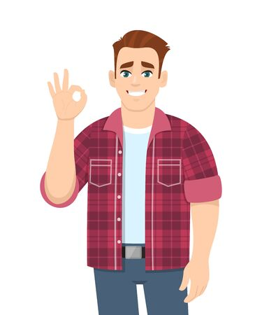 Stylish young man showing okay sign. Trendy person making OK or cool gesture with fingers. Male character design illustration isolated. Human emotions and expressions concept in vector cartoon style.