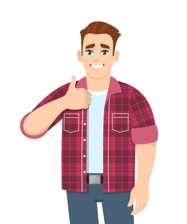 Trendy young man showing thumbs up sign. Stylish happy person making like, good or positive gesture with hand. Male character design illustration. Modern lifestyle concept in vector cartoon style.