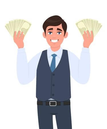 Happy young businessman in waistcoat showing cash or currency notes in hand. Trendy person holding banknotes. Male character displaying money or dollar. Cartoon illustration design in vector style.