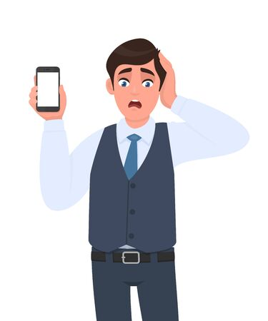 Frustrated businessman in vest suit showing mobile, cell or smartphone. Shocked trendy person holding hand on head. Male character design illustration. Modern lifestyle concept in vector cartoon.