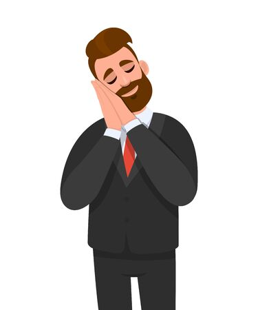 Young businessman standing and sleeping with hands together while closed eyes. Stylish person in tired and dreaming pose. Relax and sleep time. Male character illustration in vector cartoon style.