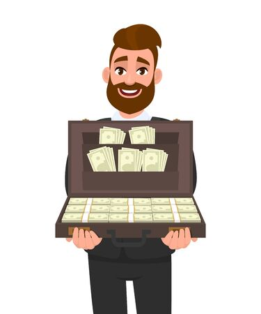 Trendy young businessman showing briefcase full of cash. Stylish hipster person carrying money or currency notes in bag. Business, finance and modern lifestyle concept illustration in vector cartoon. Illustration