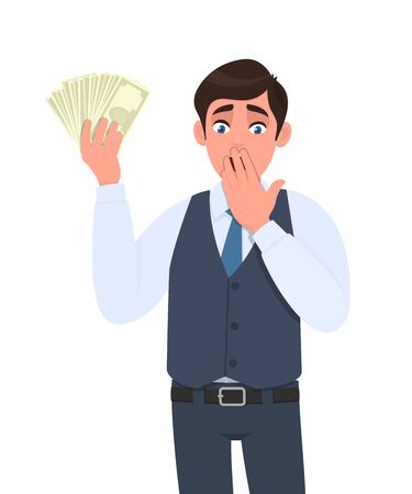 Shocked young businessman in waistcoat showing cash, money and covering hand on mouth. Scared person holding currency notes. Male character design illustration. Modern lifestyle in vector cartoon.