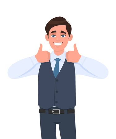 Young businessman in waistcoat showing thumb up gesture. Person making symbol of like, agree or good sign. Male character design illustration. Human emotions/expressions concept in vector cartoon.