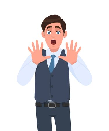 shocked young businessman shouting and making stop gesture with hands. Trendy person afraid and terrified with fear facial expression. Male character  illustration. Human emotion in vector cartoon.