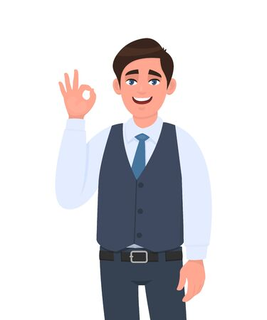 Young businessman in waistcoat showing okay or OK gesture. Person making symbol of agree, good or cool sign. Male character design illustration. Human emotions, expressions concept in vector cartoon.