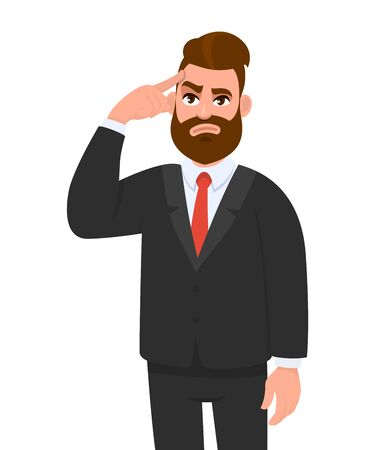 Trendy young businessman holding or touching finger on forehead. Thoughtful bearded person thinking and looking up. Hipster male character illustration. Modern lifestyle concept in vector cartoon. Illustration