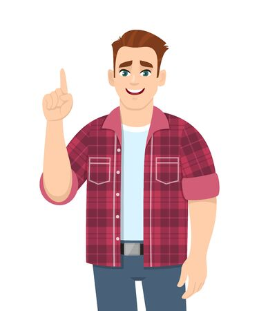 Trendy young man pointing hand index finger up. Stylish happy person showing, gesturing or making one sign with hand. Male character design illustration. Idea/solution concept in vector cartoon style.