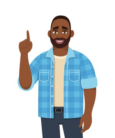 Young African man pointing finger up. Stylish person gesturing hand to copy space. Male character design illustration. Diverse people. Idea, solution, modern lifestyle concept in vector cartoon.