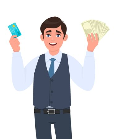 Young businessman showing credit card and cash, money, currency notes in hand. Successful person in vest suit holding debit, ATM card. Stylish male character design illustration in vector cartoon. Illustration