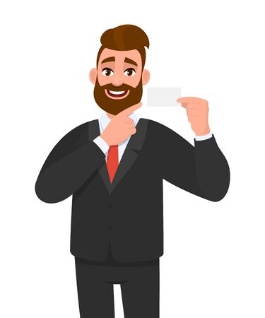 Stylish young bearded businessman showing blank business card. Trendy person pointing empty visiting card for mock up copy space template. Male character design illustration in vector cartoon style