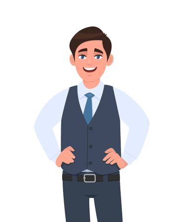 Portrait of happy young businessman in formal waistcoat standing and holding hands on hip. Male character design illustration. Human emotions, facial expressions, feelings concept in vector cartoon.