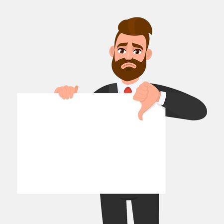 Unhappy young businessman showing blank poster and making thumbs down gesture sign. Hipster trendy person holding empty banner. Male presenting signboardbillboard. Cartoon illustration in vector.
