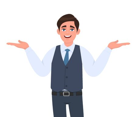 Young businessman presenting hands gesture to copy space. Person introducing something. Male character design illustration. Modern lifestyle, human emotions, facial expressions concept in vector. Stock Illustratie