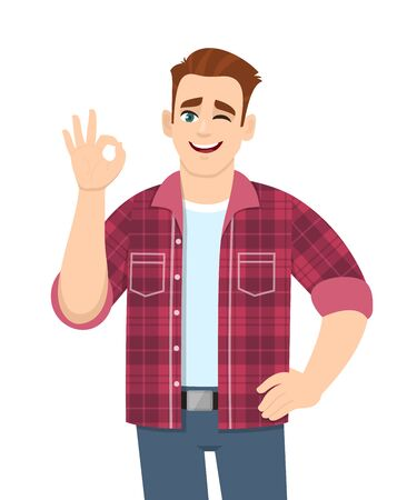 Trendy young man showing okay sign and winking eye. Stylish person making OK or cool gesture with fingers. Male character illustration isolated. Human emotions & expressions concept in vector cartoon. Stock Illustratie