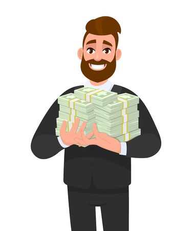 Young business man holding bundle of cash or dollar. Person carrying  pile of money, currency notes. Male character design illustration.Business and financial concept illustration in vector cartoon. Stock Illustratie