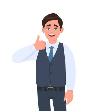 Young businessman in waistcoat showing thumb up gesture. Person making symbol of like, agree or good sign. Male character design illustration. Human emotionsexpressions concept in vector cartoon.