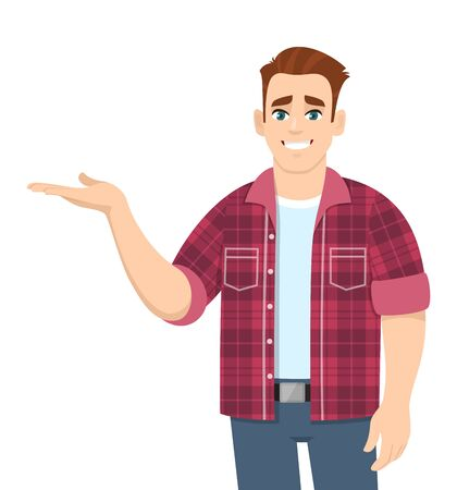 Happy young man presenting or pointing hand to copy space side away. Stylish trendy person in casual introducing something. Male character illustration. Modern lifestyle concept in vector cartoon.