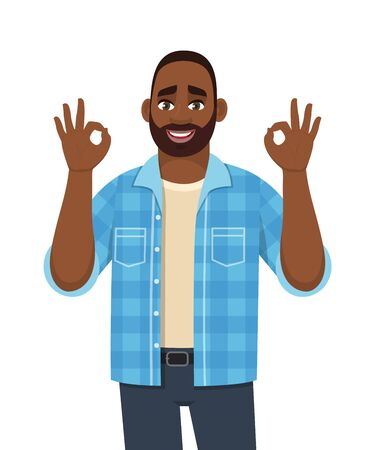Trendy young African man showing okay, cool gesture sign. Successful black person making OK, good symbol with fingers. Male character design illustration. Modern lifestyle in vector cartoon.