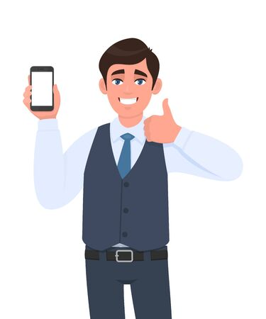 Successful young business man in vest suit showing blank screen mobile phone and gesturing thumbs up sign. Person holding smartphone. Mock up template. Modern technology concept in vector cartoon.