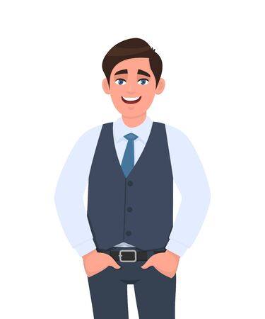 Portrait of young businessman standing with hands in pockets. Person in formal  waistcoat. Male character design illustration. Human emotions, facial expressions, feelings concept in vector cartoon.