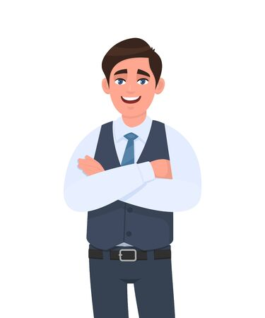 Young man in formal waistcoat standing crossed arms pose. Male character design illustration. Human emotions, facial expressions, modern lifestyle, concept in vector cartoon style.