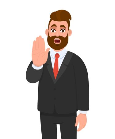 Trendy young business man making or showing stop gesture sign with hand, saying no. Shocked person warning signal with palm of the hand.  Human emotions and modern lifestyle in vector cartoon style.