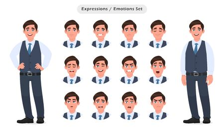 Set of male characters facial expressions. Collection of man with different emotions. Emoji with various face reactions. Human feelings concept illustration in vector cartoon style.
