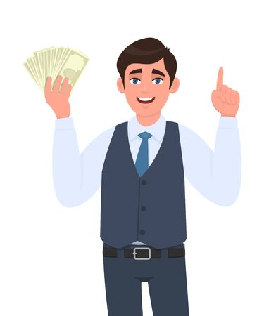 Young businessman in waistcoat showing cash or currency notes and pointing finger up. Trendy person holding banknotes. Male character displaying money or dollar. Cartoon illustration in vector style. Stock Illustratie