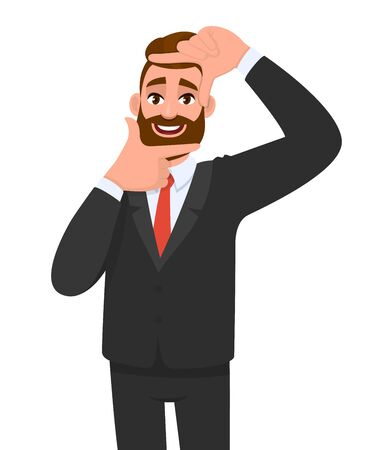 Trendy bearded young businessman making frame gesture with hands and fingers. Hipster person showing or framing his face or photograph. Male character illustration. Modern lifestyle in vector cartoon.