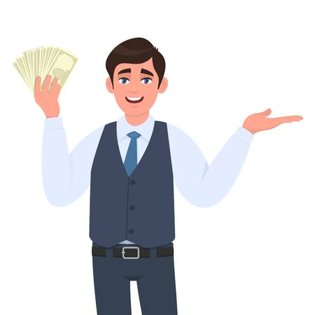 Young business man in waistcoat showing cash, money or currency notes and presenting hand to copy space. Person holding banknotes. Male character gesturingintroducing something. Cartoon in vector. Stock Illustratie
