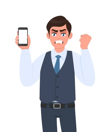 Frustrated angry man in vest suit showing mobile, cell or smartphone and making raised arm fist. Furious person gesturing hand sign. Male character holding gadget. Modern lifestyle in vector cartoon. Stock Illustratie