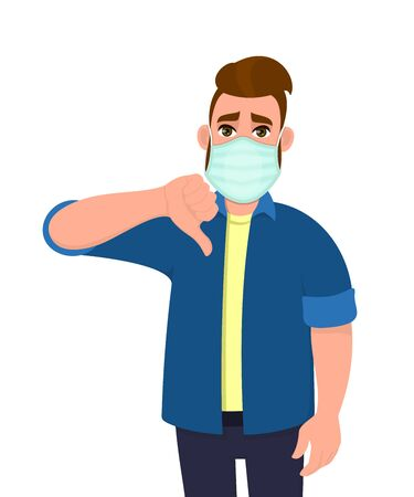 Young hipster man covering face with medical mask and showing thumbs down symbol. Person wearing hygienic facial protection and gesturing bad or negative sign. Male cartoon illustration in vector.