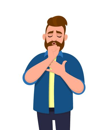 Young hipster man coughing and holding hand on chest. Trendy person suffering with cold and throat pain. Unhealthy male character feeling bad for sickness. Cartoon design illustration in vector style.