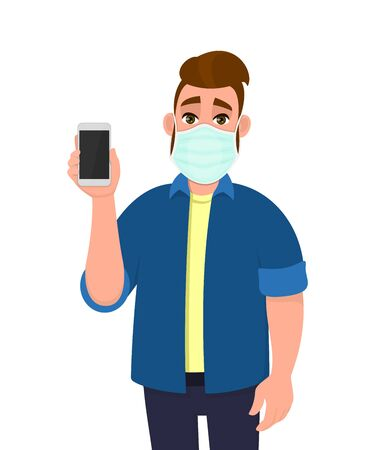 Young hipster man wearing medical mask and showing phone. Trendy person displaying smartphone. Male character covering face protection from virus disease. Cartoon illustration design in vector style. 矢量图像