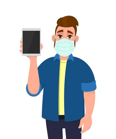 Hipster young man wearing medical mask and showing blank screen tablet computer. Trendy person covering face protection from virus disease. Male character design. Cartoon illustration in vector style. 矢量图像