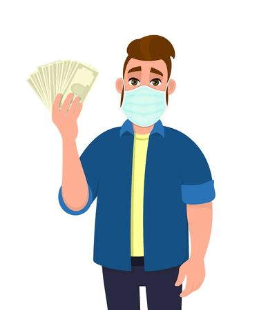 Young hipster man wearing medical mask and showing money, cash, currency notes. Trendy person covering face protection from virus disease. Male character design. Cartoon illustration in vector style.