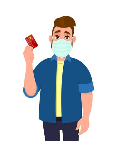 Hipster young man wearing medical mask and showing credit, debit, ATM card. Trendy person covering face protection from virus disease. Male character design. Cartoon illustration in vector style. 矢量图像