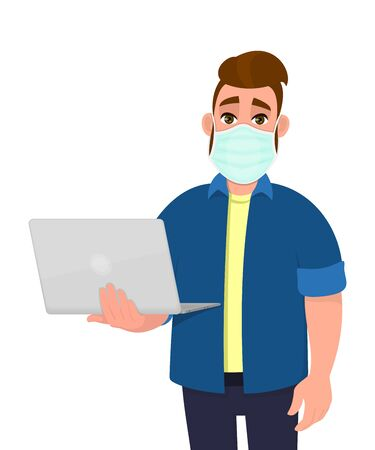 Young hipster man wearing medical mask and holding laptop computer. Trendy person covering face protection from virus disease. Male character design. Modern lifestyle. Cartoon illustration in vector.