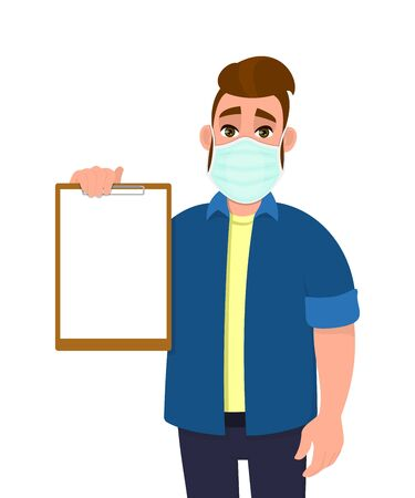 Young hipster man wearing medical mask and showing blank clipboard. Trendy person covering face protection from virus disease. Modern lifestyle. Male character design. Cartoon illustration in vector. 矢量图像