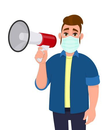 Hipster young man wearing medical mask and holding megaphone or loudspeaker. Trendy person covering face protection from virus disease. Male character design illustration in vector cartoon style.