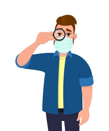 Young hipster man wearing medical mask and looking through magnifying glass. Trendy person covering face protection from virus. Male character holding magnifier. Cartoon illustration in vector style. Illusztráció