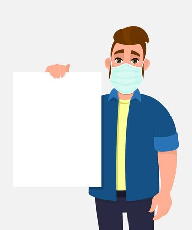 Hipster young man wearing medical mask and holding blank poster. Trendy person covering face protection from virus. Male character showing white banner. Cartoon illustration design in vector style. 矢量图像