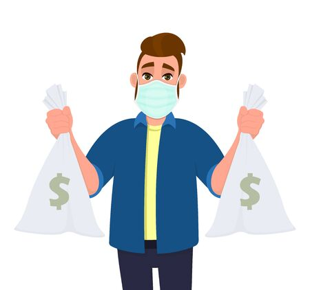 Young hipster man wearing medical mask and holding cash, money bag. Trendy person covering face protection from virus. Male character showing currency notes sack. Cartoon illustration in vector style.